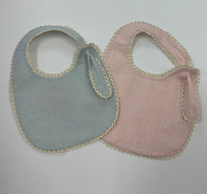 Pink or Blue Bib with Ecru Trim