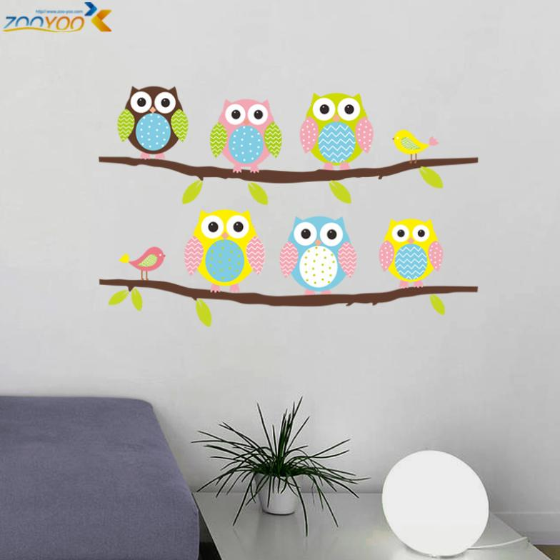 Owls on tree wall stickers for kids rooms decorative  pvc wall decal 1020. animal mural art cartoon posters 2.5