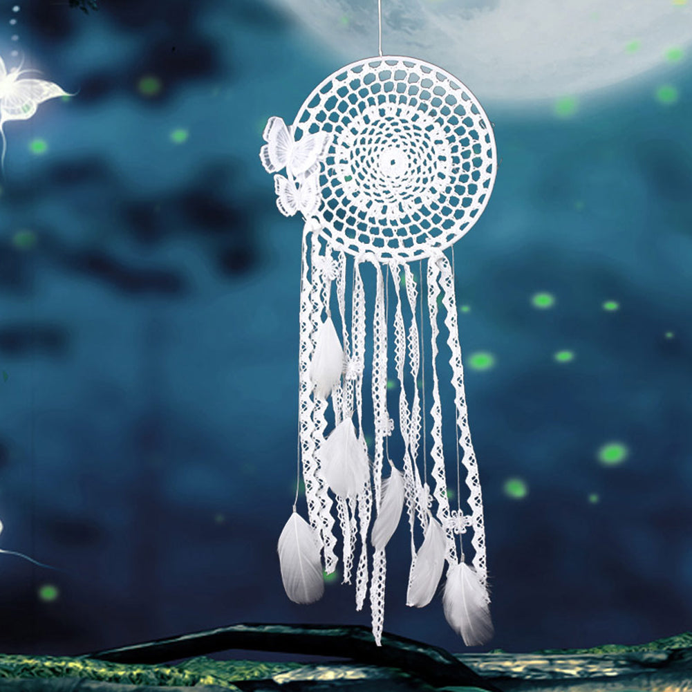 White Wind Chime Handmade Butterfly Dream Catcher Feather Bead Dreamcatcher For Window/Car/ Wall Hanging Decoration Ornament