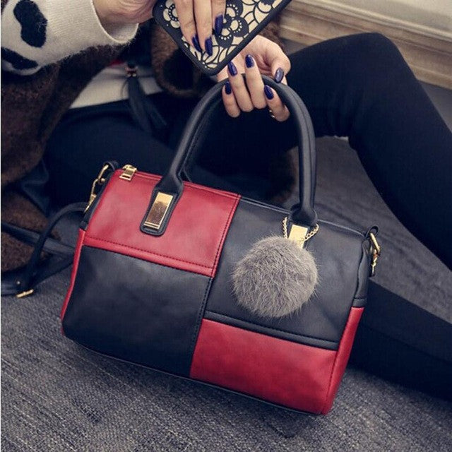 Faux Leather Patchwork  with Zipper Versatile Handbag