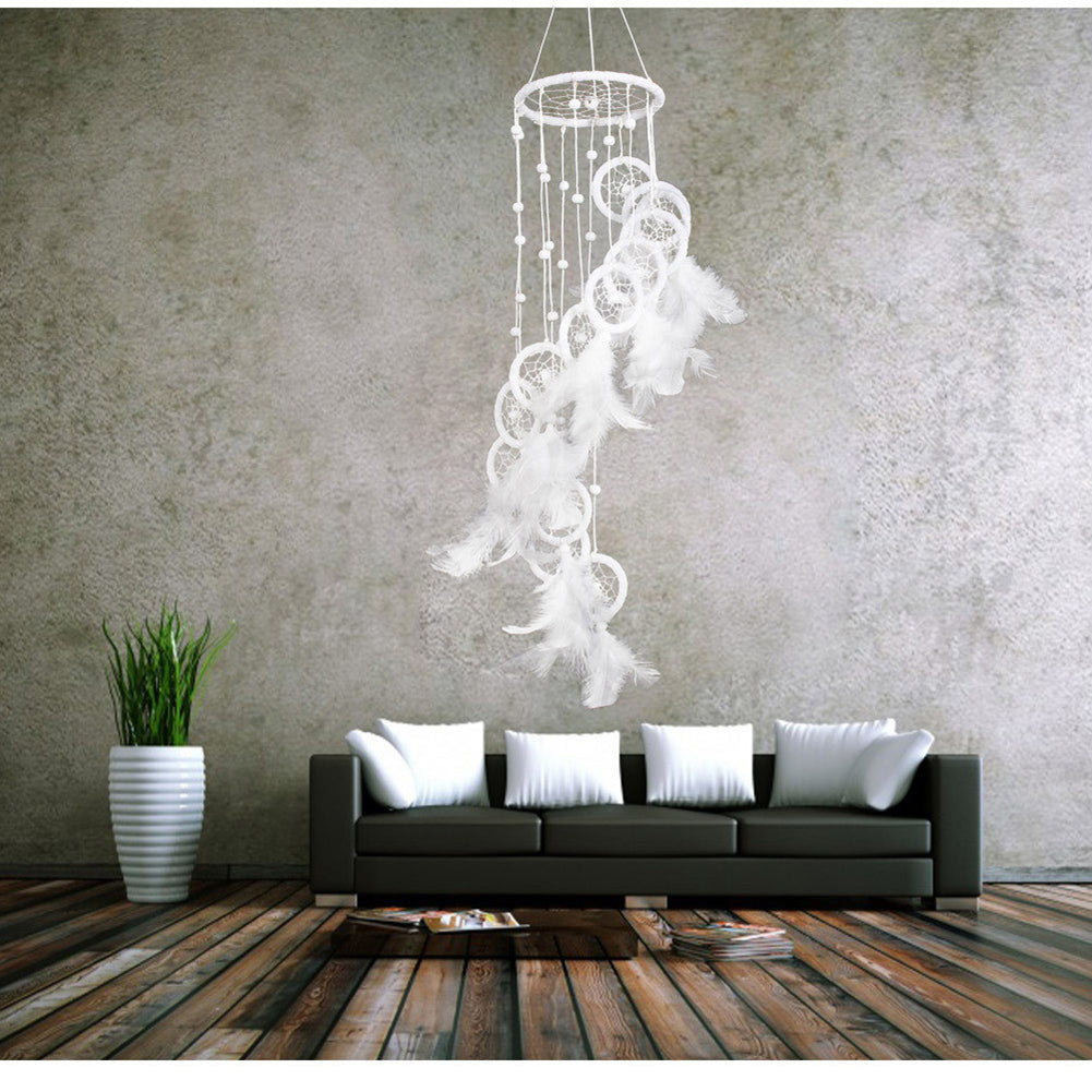 White Polycyclic Dream Catcher With Feathers Beads  Home Decor Korean Style Wind Chime