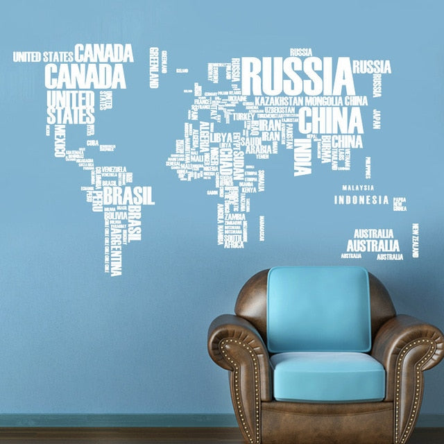 Removable Letter World Map  Wall Stickers 60*90cm
