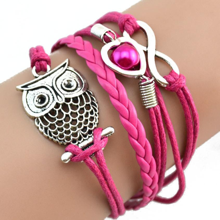 Sterling silver Lovely Infinity Owl Pearl Charm Leather Bracelets