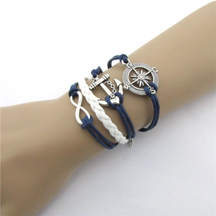 New Hot Infinity Love Anchor Compass Leather Charm Bracelet *  Plated Silver Frindship bracelet