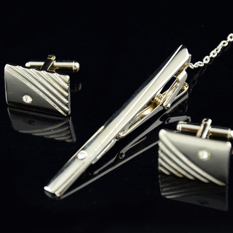 Diamond Tie Clip  & Cufflinks Set
