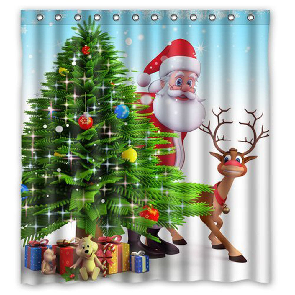 Christmas Fabric  Bathroom Shower Curtain, Waterproof