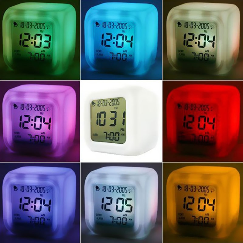 Digital Alarm Clock, Color Changes, Multi-function, Projection Clock Square  LED Watch Glowing Thermometer, Desktop Clock Cube