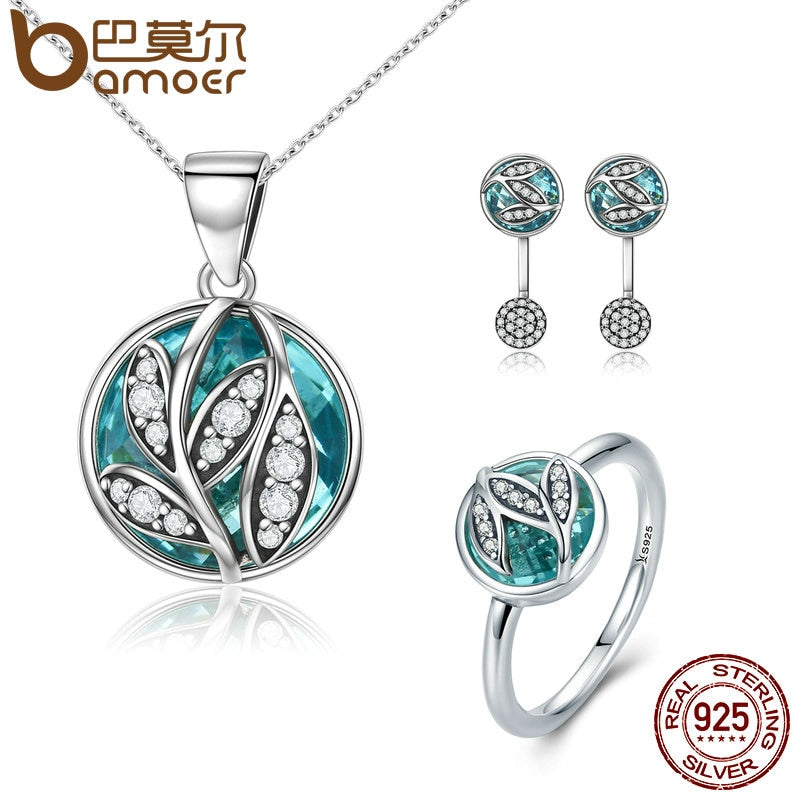 BAMOER Authentic 925 Sterling Silver Jewelry Set Green Crystal CZ Tree of Life