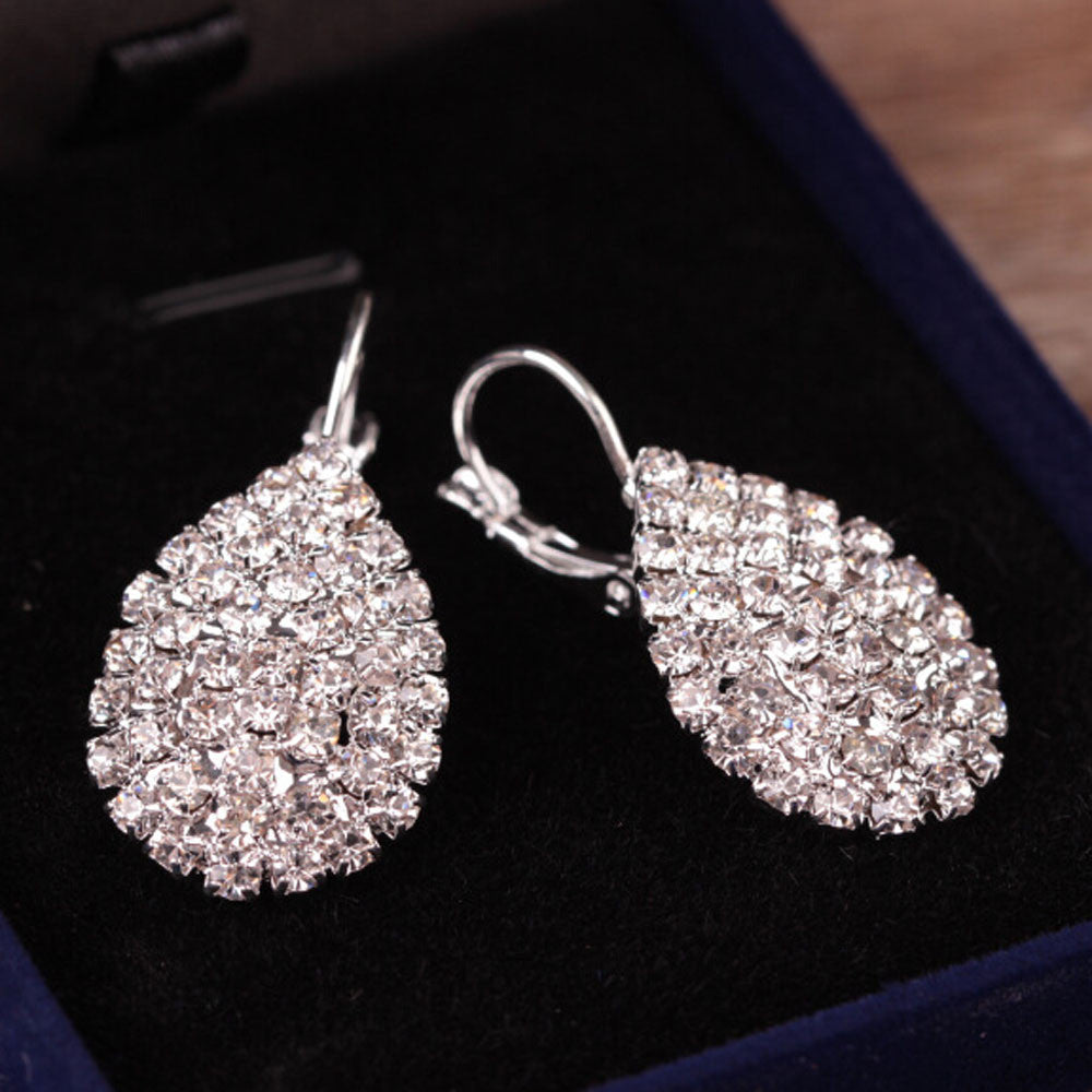 Cute Lady Crystal Rhinestone Earrings, Elegant Jewelry