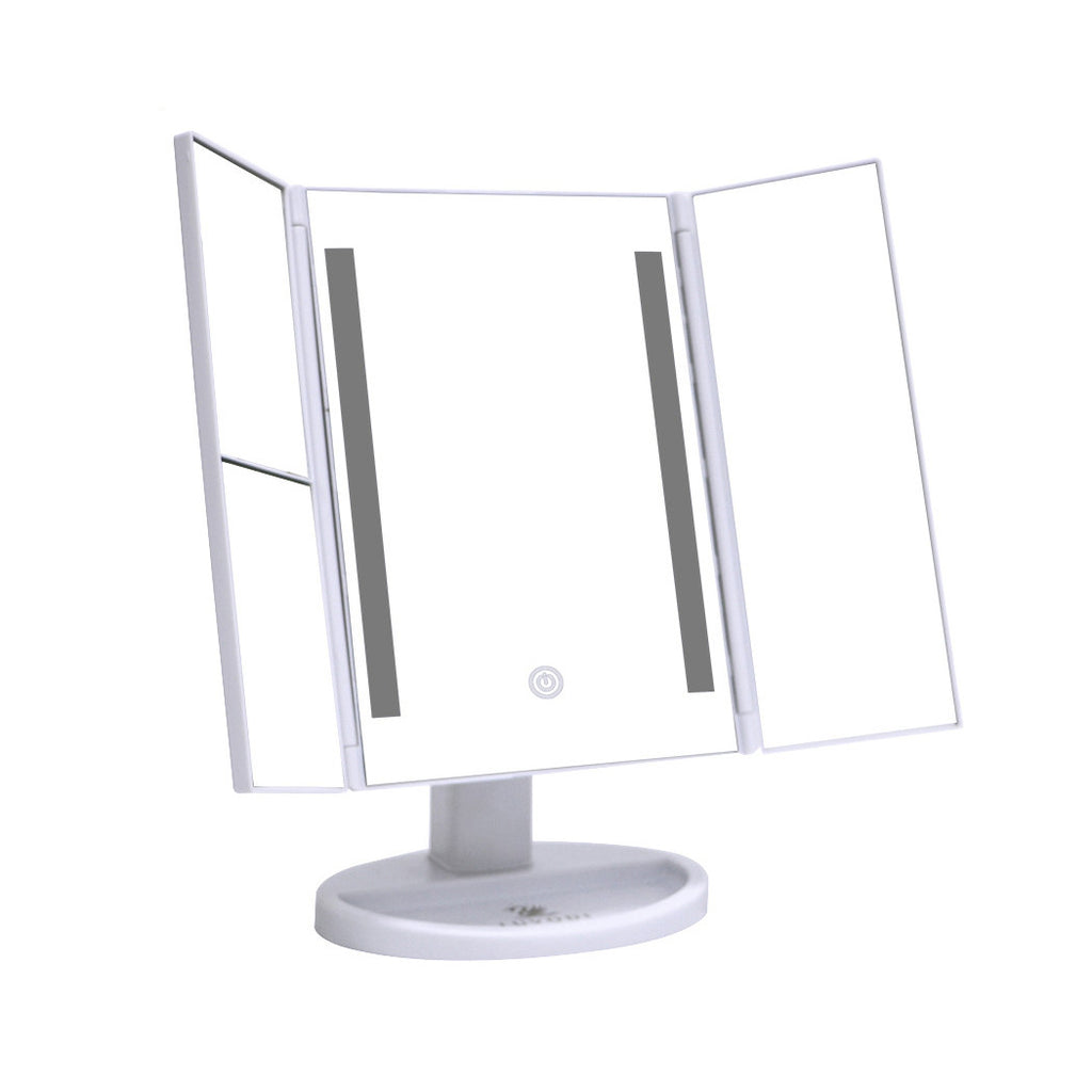 Foldable LED Lighted Mirror, Rectangular Touch Screen with 2X 3X Magnification