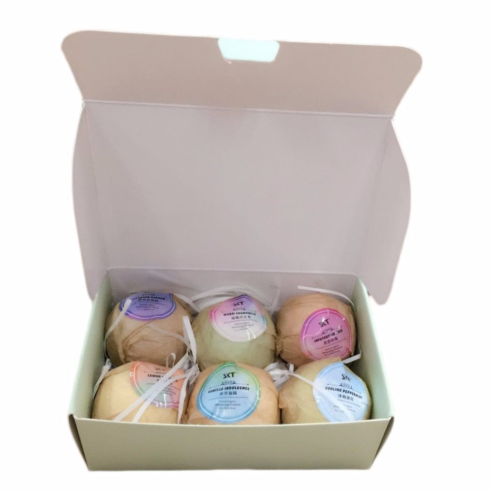 6pcs/lot Organic Bath Bombs,  Essential Oil, Handmade for Home or SPA, Stress Relief, Exfoliating