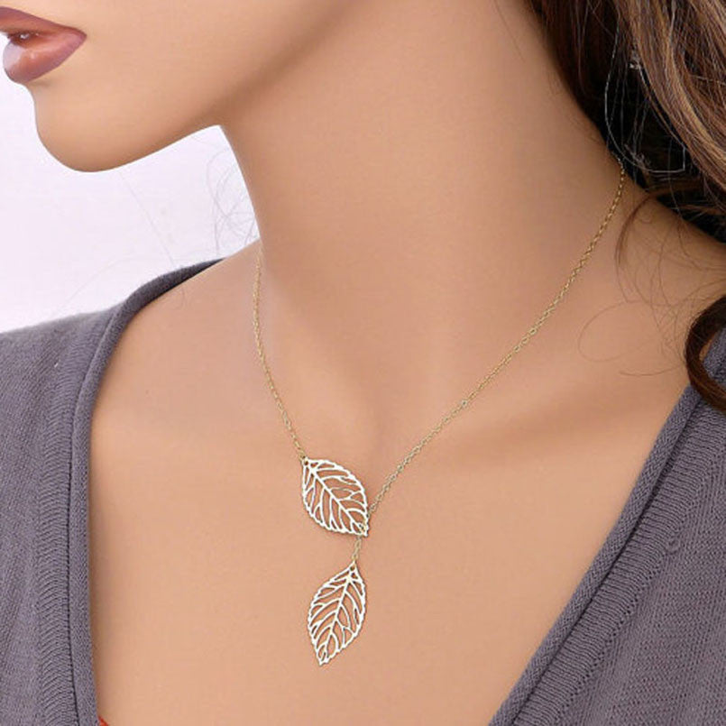 1PC Women's  Simple Metal Double Leaf Necklace  Gold or Silver