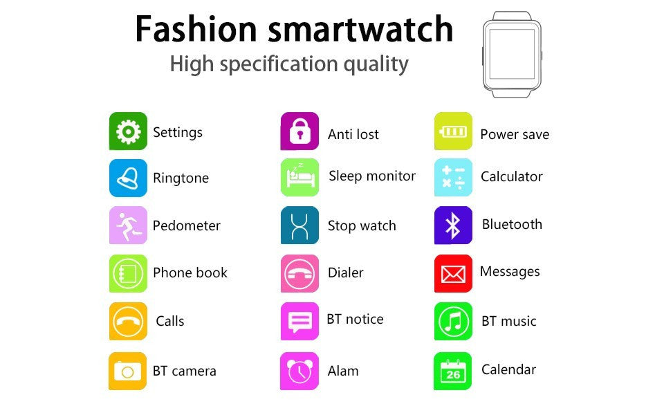 Bluetooth Smart Watch /Remote camera /Import PC ABS U8 alloy plastic