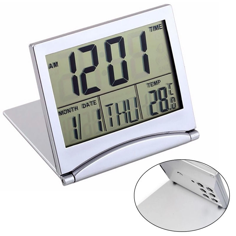 Folding LCD Alarm Clock Digital Temperature