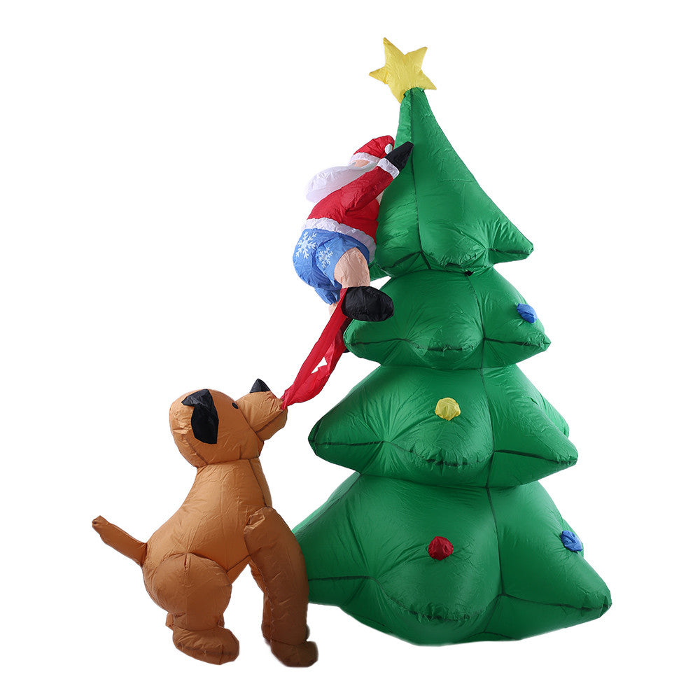 6 ft Tall Inflatable Christmas Tree  with Santa Claus and Dog   Decor X'mas Outdoor Decorations Ornaments AC100-240V