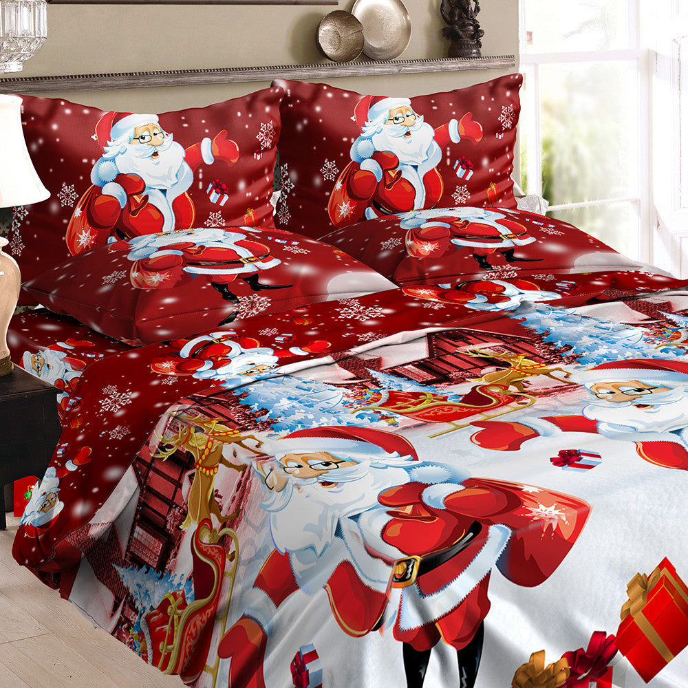 Christmas Bedding Set,  Duvet cover is Polyester  + 2pcs Pillowcases + Bed Sheet Set Christmas Bedroom Decorations--Twin Size