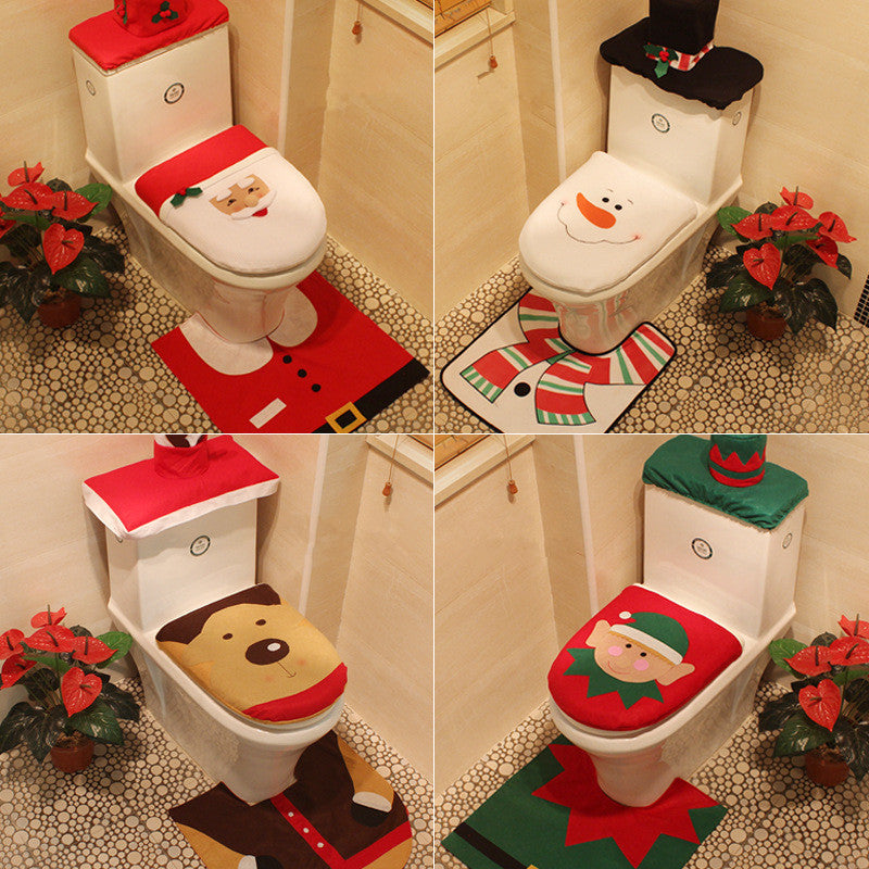 Christmas decorations, Santa Claus, Snowman, Elf or Reindeer 3 piece Bathroom set
