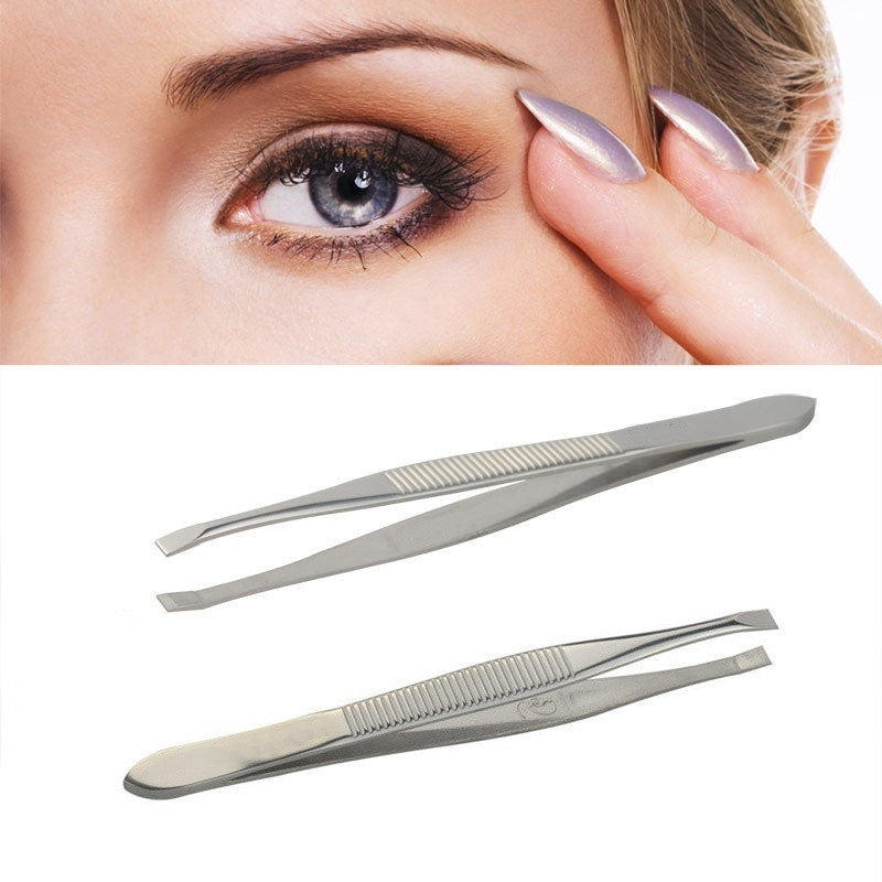 Professional  Stainless Steel Eyebrow Tweezers,  Slanted