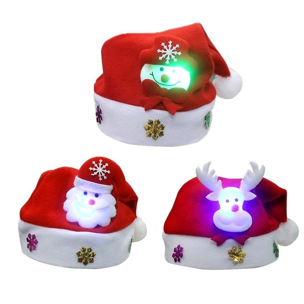 2018 Christmas Santa Snowman/ Reindeer   Christmas Hat Lights up LED