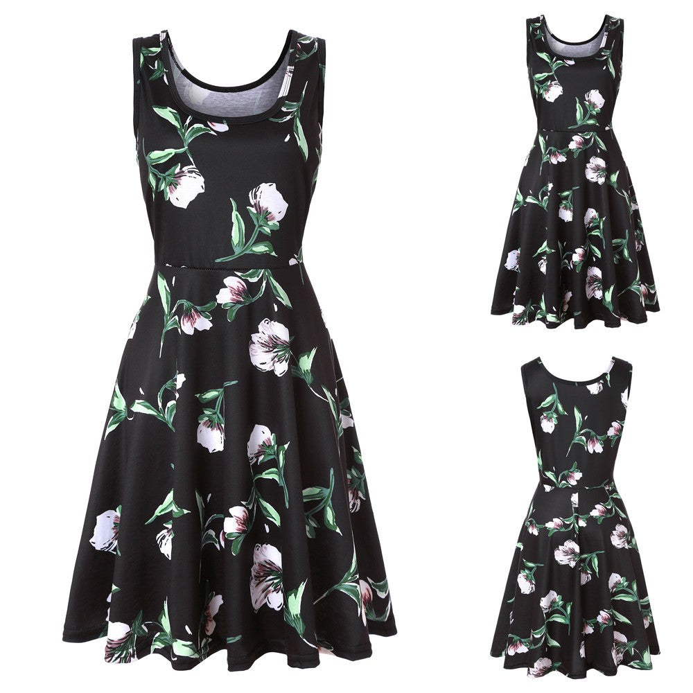 Women's Sleeveless Print  A Line Casual Dress, Floral