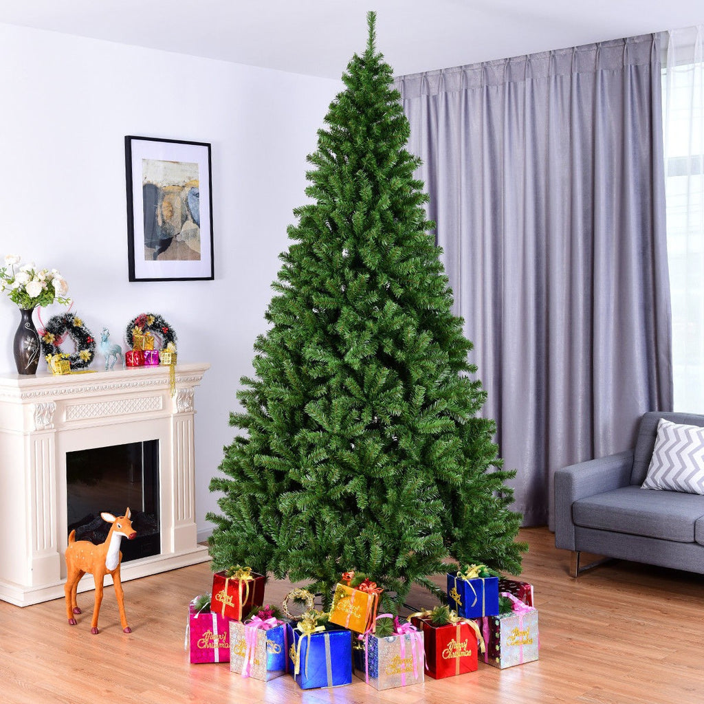 Costway 9FT PVC Artificial Christmas Tree 2132 Tips Premium Hinged w/ Solid Metal Legs