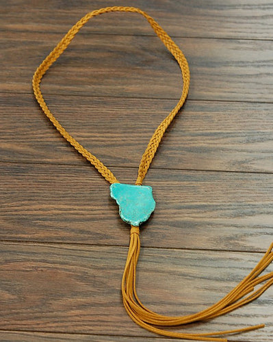 THE TAN SUEDE W/TURQUOISE SLAB BOLO