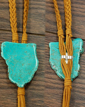 Load image into Gallery viewer, THE TAN SUEDE W/TURQUOISE SLAB BOLO