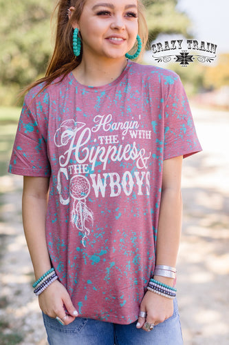 THE HANGIN' W/HIPPIES & COWBOYS GRAPHIC TEE