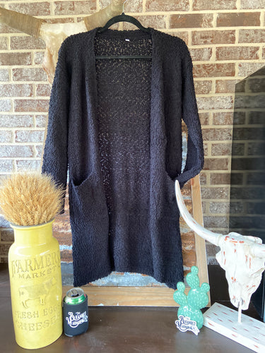 THE LITTLE POPPER LONG CARDIGAN