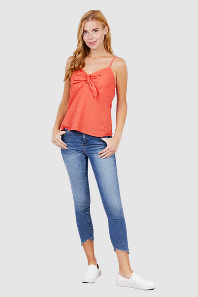 V-neck w/front bow tie eyelet woven cami top