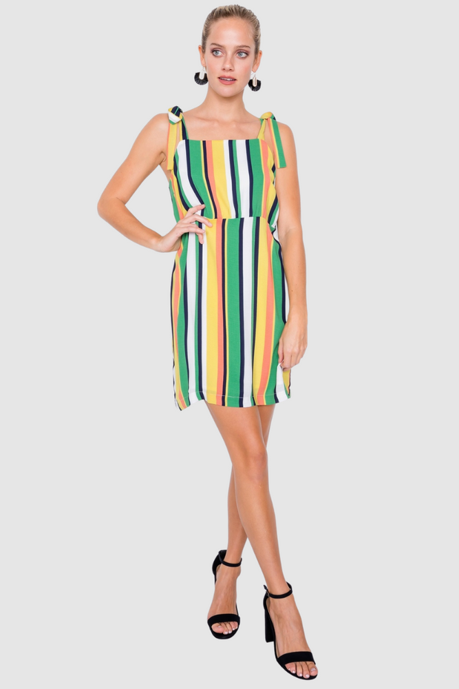 Green Vintage Multi Stripe Shift Chic Casual Colorblock Mini Dress