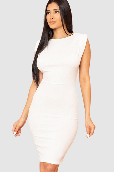 Shoulder Pad Attached Midi Dress