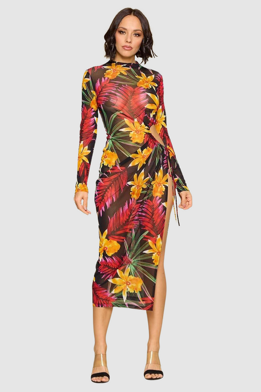 Flower Print Slit Dress