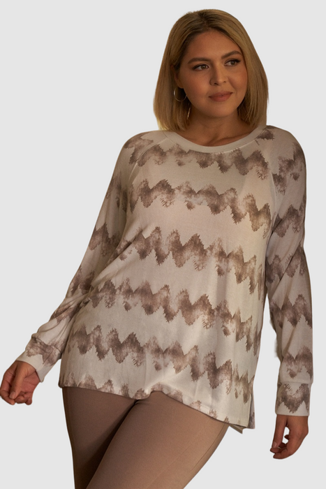 Abstract Blur Print Relaxed Sweatshirt