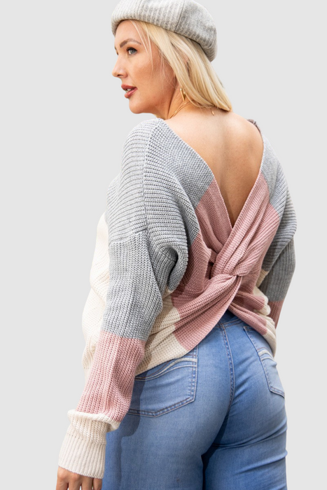 Open Back Twisted Sweater Top