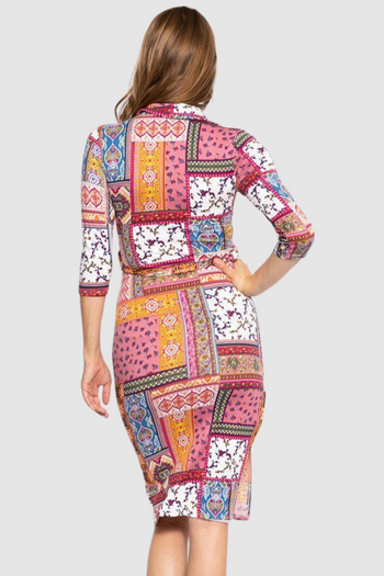 Print Midi Tee Dress Matching Belt And A Side Slit