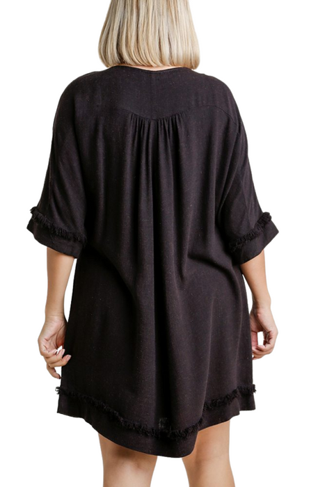 Round Neck with Chest Pocket and Frayed Edge Dress