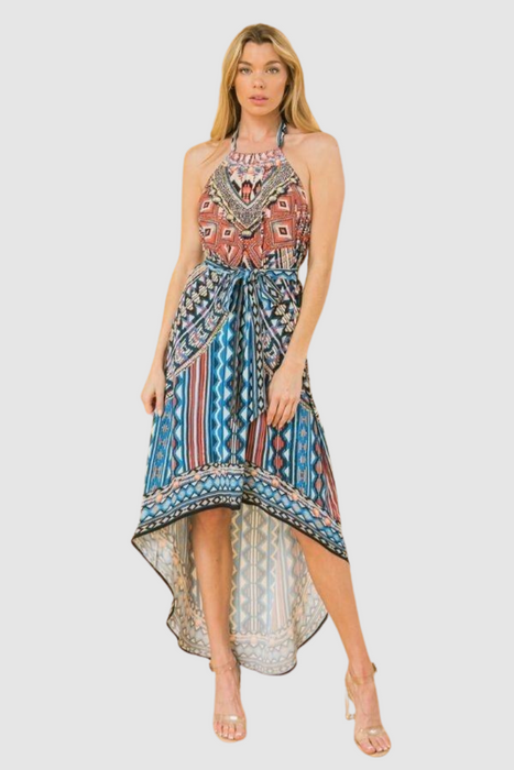 Mixed Print Halter Neck Dress