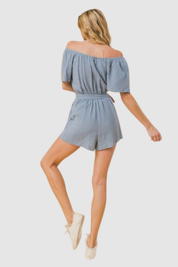A Textured Woven Romper