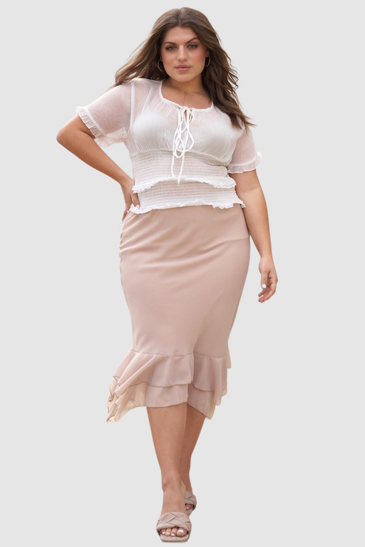 Sleeve U-neck With Self-tie Detail Frill Smocked Sheer Top