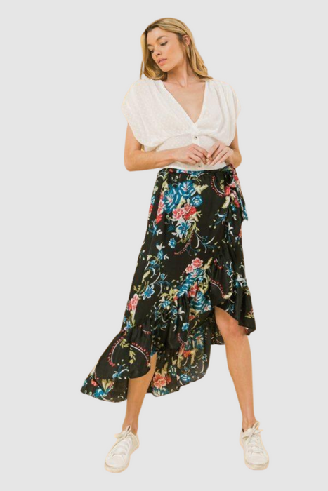 High Low Floral Ruffle Skirt