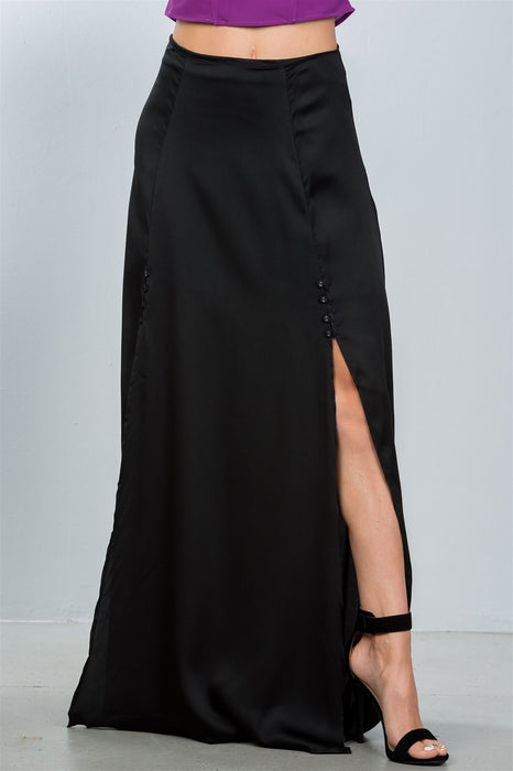 Button Front Double Split Maxi Skirt