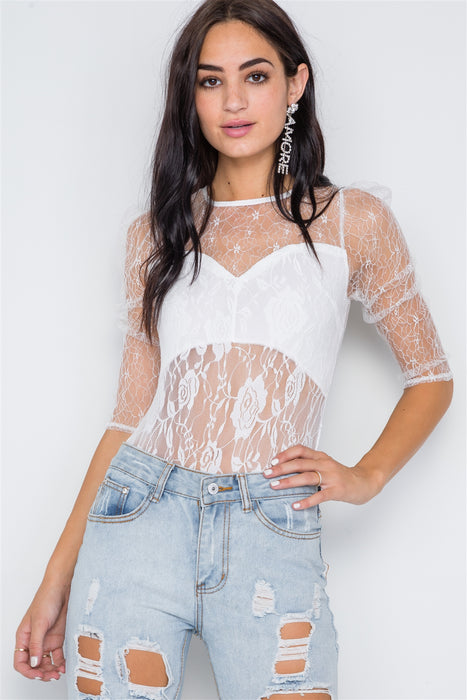Floral Lace Combo Sheer Evening Bodysuit