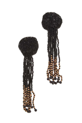 Circle Seed Bead Dangle Post Drop Earring