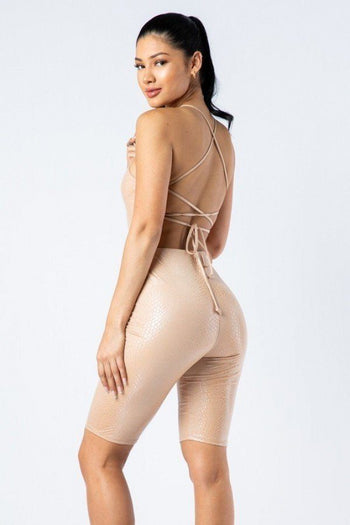 Spaghetti Strap Cut Out Biker Short Romper