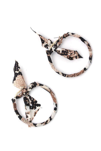 Animal Print Pattern Bow Hoop Earring