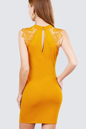 Lace Patch Open Back Button Mini Dress