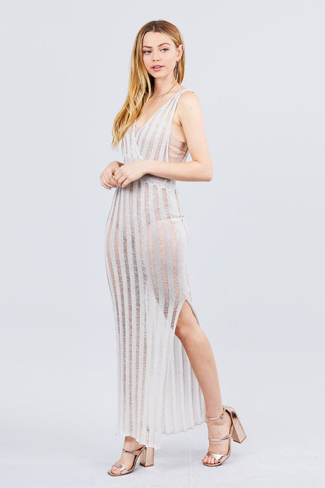 One Side Slit Long Knit Dress