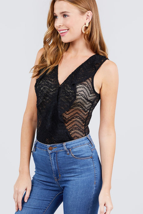 Sleeveless Surplice W/ruffle Lace Bodysuit