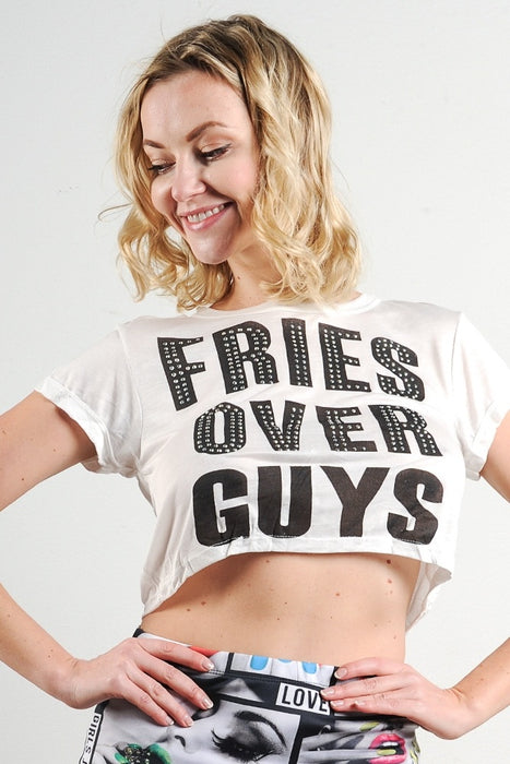 """Fries Over Guys"" Graphic Rhinestone Studded Crop Top"